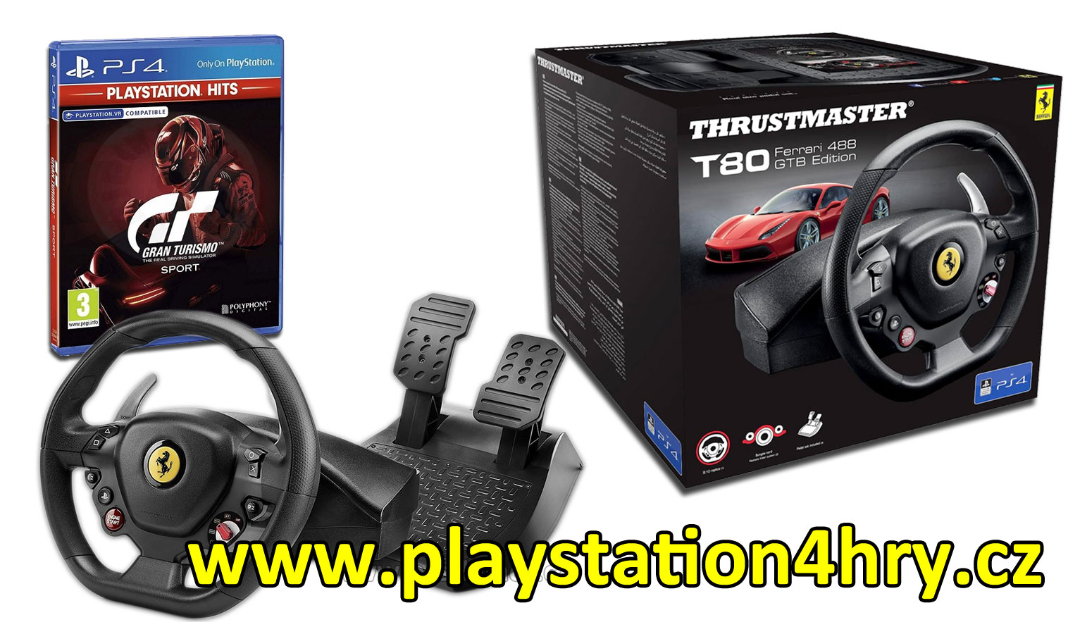 volant na Playstation 4 - T80 + hra Gran Turismo Sport PS4