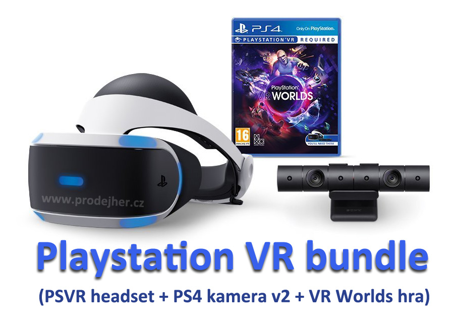 Sony Playstation VR v2 + Playstation 4 kamera v2 + VR Worlds PS4 hra