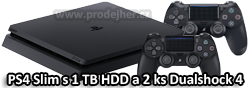 Sony PS4 Slim 1 TB HDD + 2 ks dualshock 4 ovladače