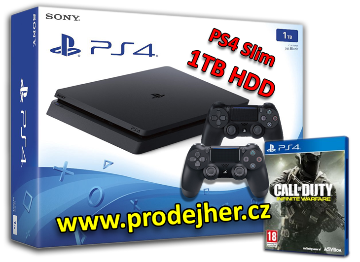 Sony Playstation 4 Slim 1 TB + 2 ks dualshock 4 + hra Call of Duty Infinite Warfare na PS4