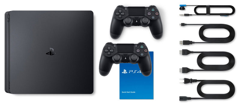 obsah balení Playstation 4 Slim 1TB 2x Dualshock 4 bundle